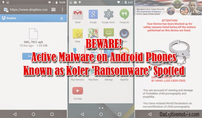 BEWARE: Active Malware on Android Phones Known as Koler 'Ransomware' Spotted