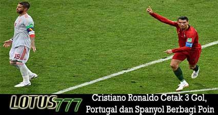 Cristiano Ronaldo Cetak 3 Gol, Portugal dan Spanyol Berbagi Poin