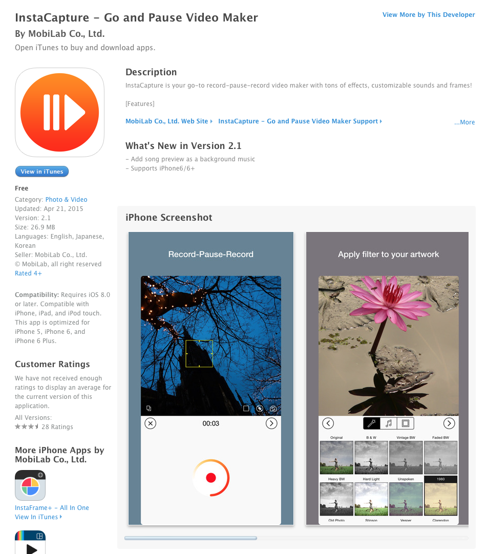 UCET Free iOS App Today: InstaCapture - Go and Pause Video