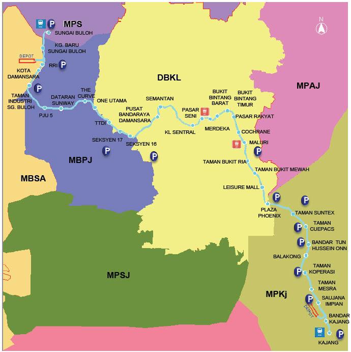 Info & Maps for Klang Valley Mass Rapid Transit (MRT ...