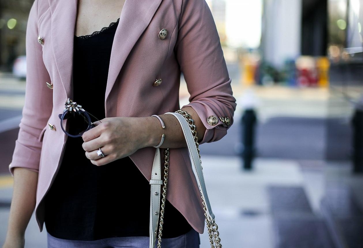 military blazer, pink blazer, jimmy choo vivy, sole society jenn