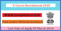 E-Courts Recruitment 2018 – 12 Lower Division Assistant, Junior Librarian