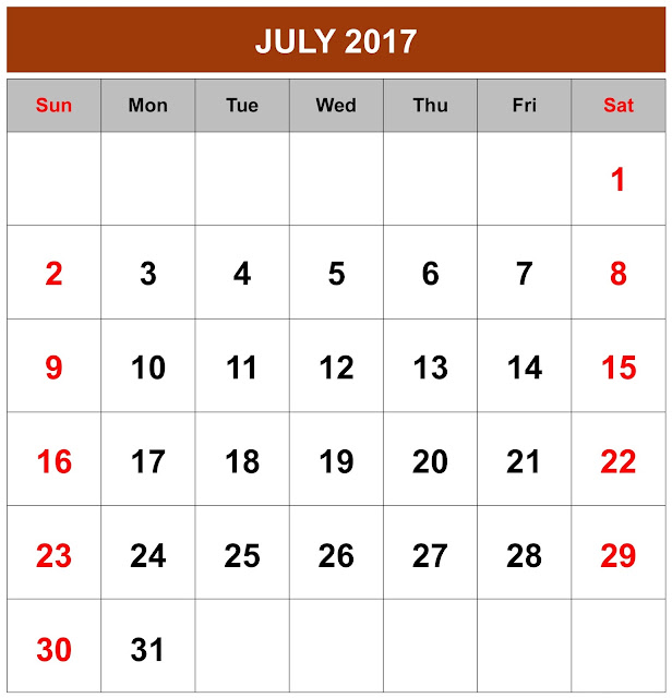 July 2017 Calendar, July Calendar 2017, july 2017 Printable Calendar, July 2017 calendar Printable, july 2017 Blank Calendar, July 2017 Calendar with holidays