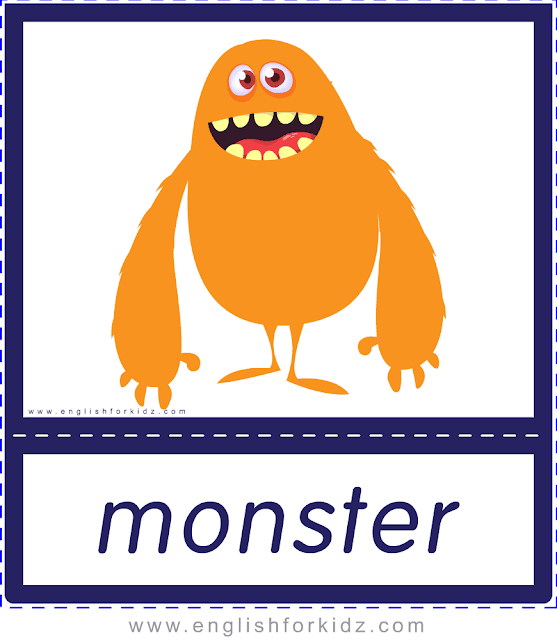 Monster - Printable Halloween flashcards