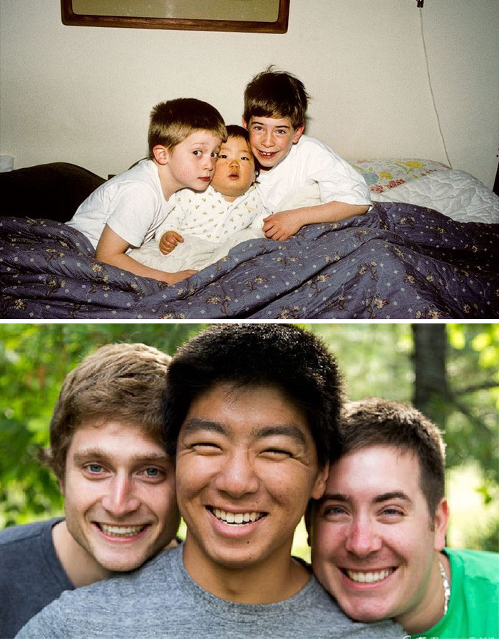 30 Beautiful Recreations Of Childhood Pictures - Me And My Brothers All Grown Up After 18 Years Apart