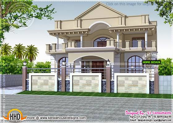 June 2014 kerala home design and floor plans for Front view of duplex house in india