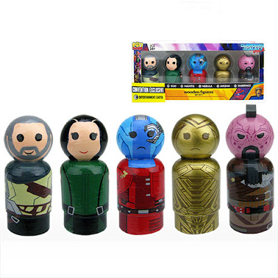 San Diego Comic-Con 2017 Exclusive Marvel Pin Mate Wooden Figure Sets by Bif Bang Pow! x Entertainment Earth - Guardians of the Galaxy Vol 2.