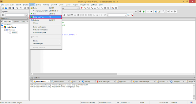 Running C/C++ project in Code::Blocks