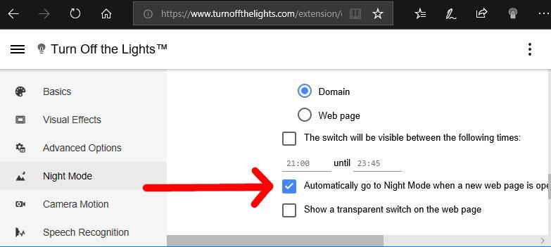 Passa automaticamente alla modalità notte quando si apre una nuova pagina Web