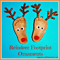 Salt dough reindeer footprint -  easy salt dough recipe and salt dough craft ideas for kids