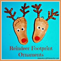Salt dough reindeer footprint - salt dough craft ideas for kids