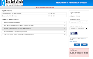 SBI PO 2019 Admit Card