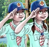 İzci selamı veren izci çocukları gösteren bir çizim