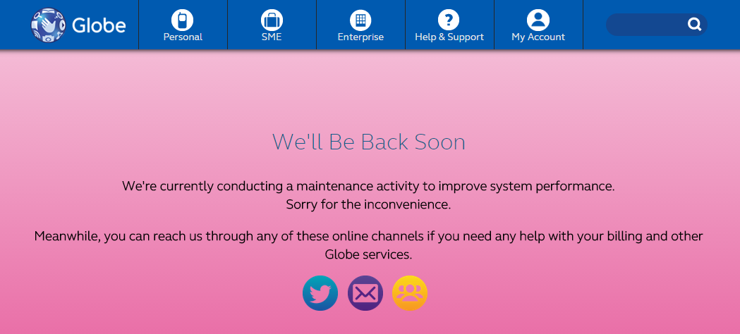 Globe Telecom site maintenance
