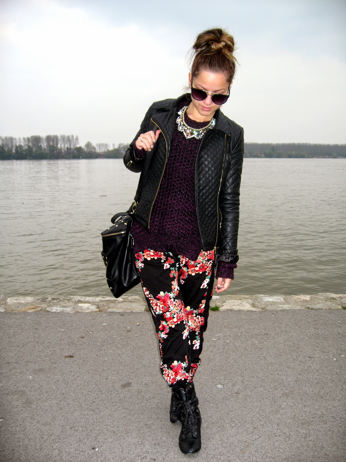 outfit, terranova floral pants, c&a purple and black sweater, bornprettystore.com statement necklace, c&a black pu faux leather jacket, messy bun, black combat boots