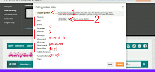 cara mengganti background template blogger