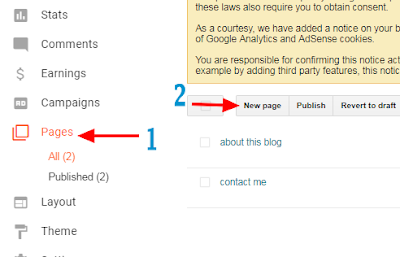 how to add and show pages on blogger blog