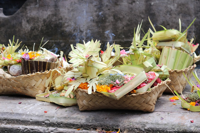 Offerings for gods in Bali
