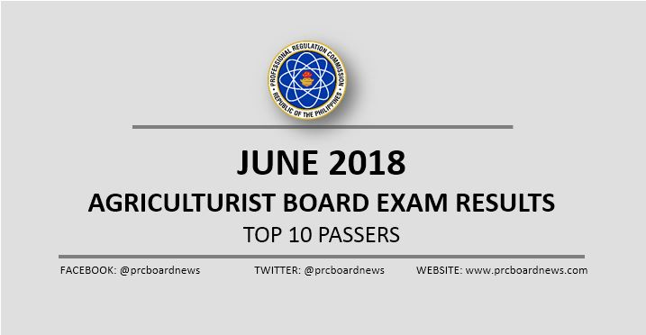PRC RESULT: June 2018 Agriculturist board exam top 10 passers