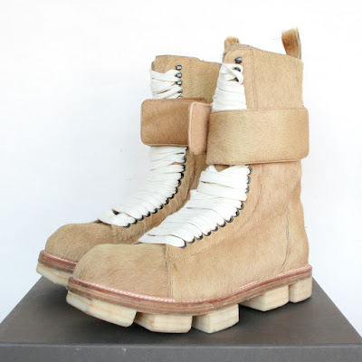 rick owens plinth hiker boots calf fur pony hair