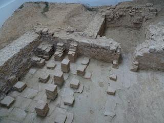 Hypocaustum con pilas de ladrillos. Villa de la Tejada