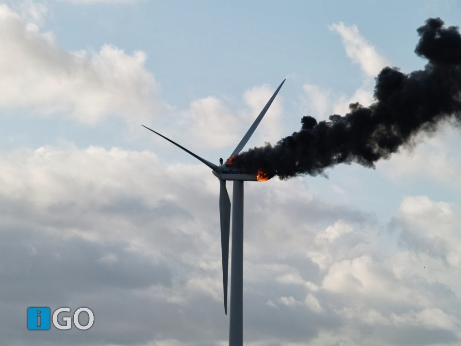Two engineers died when the windmill they were working on caught fire. This might be the last picture taken of them alive. Picture was taken on October 29th, 2013 in the Netherlands.