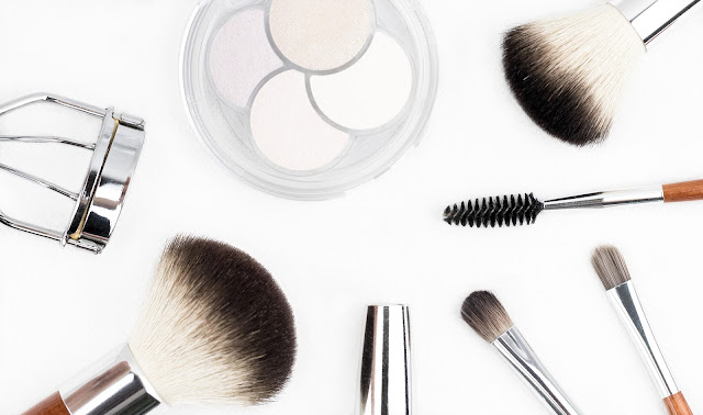 Makeup brushes and tools white background