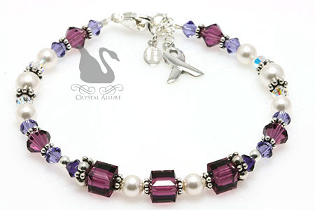 Shades of Purple Cystic Fibrosis Awareness Bracelet (B211)