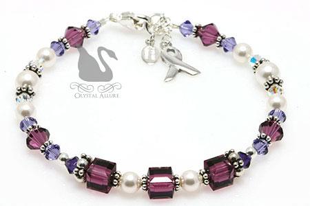 Shades of Purple Cystic Fibrosis Awareness Bracelet (B211)