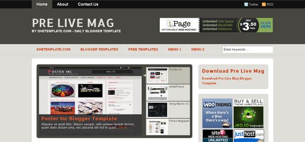 FREE Pre Live Mag Blogger Template