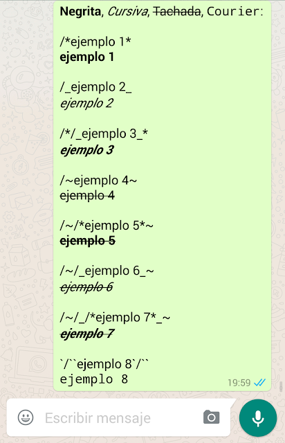 WhatsApp, ejemplos