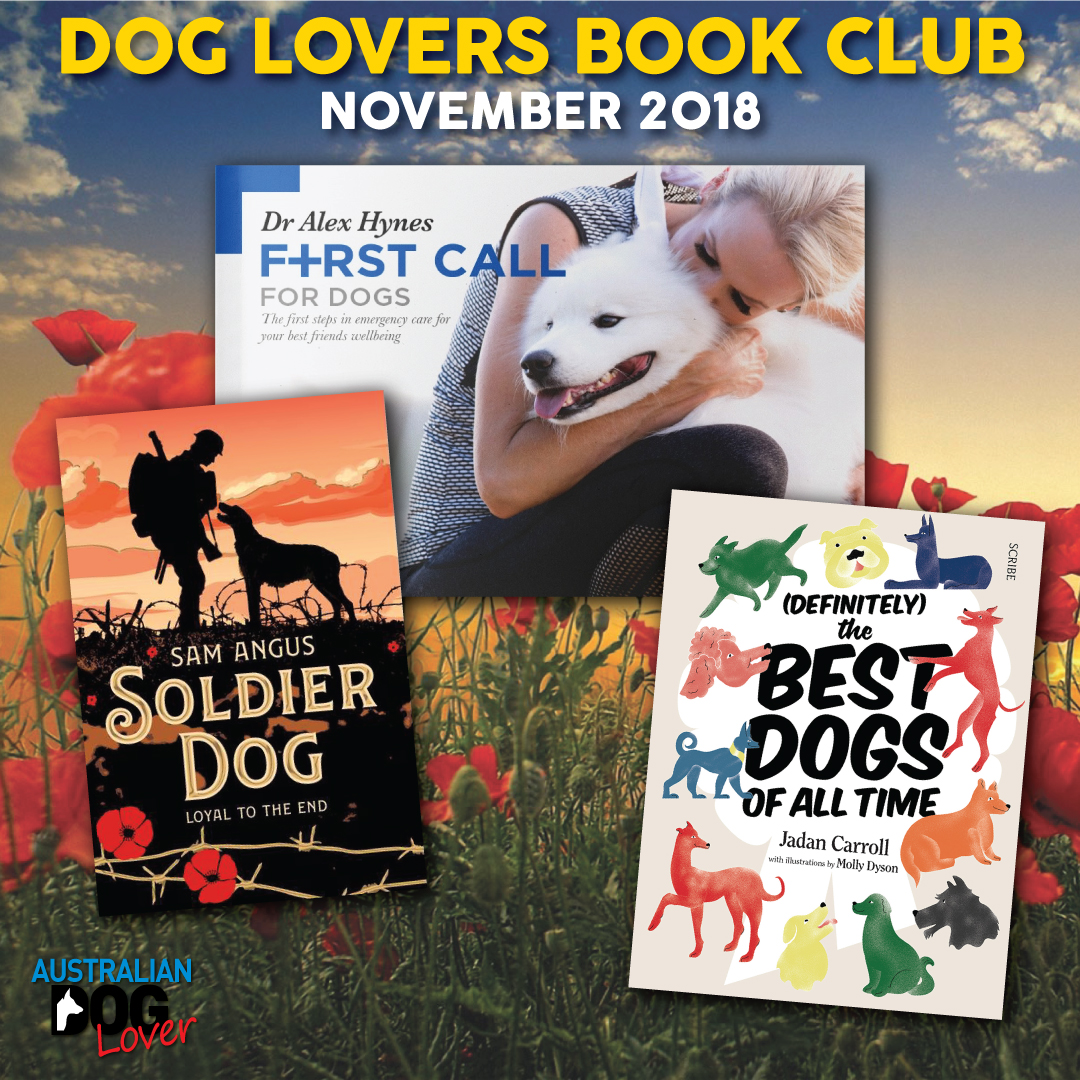 Australian Dog Lovers Book Club November 2018 showing our three top picks