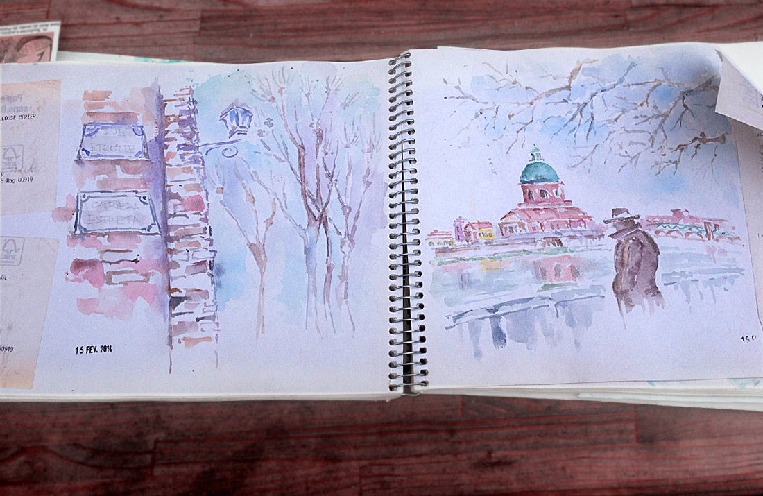 France, Toulouse, Watercolor Sketch