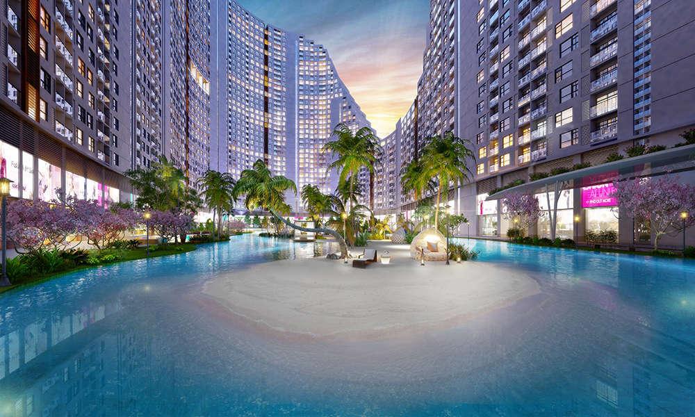 Tiện ích biển đảo nhân tạo dự án căn hộ River City quận 7 HCM