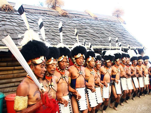 Khiamniungan Naga tribesmen perform at Nagaland Hornbill Festival 2015