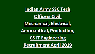 Indian Army SSC Tech Officers Civil, Mechanical, Electrical, Aeronautical, Production, CS IT Engineering Recruitment April 2019 191 Govt Jobs