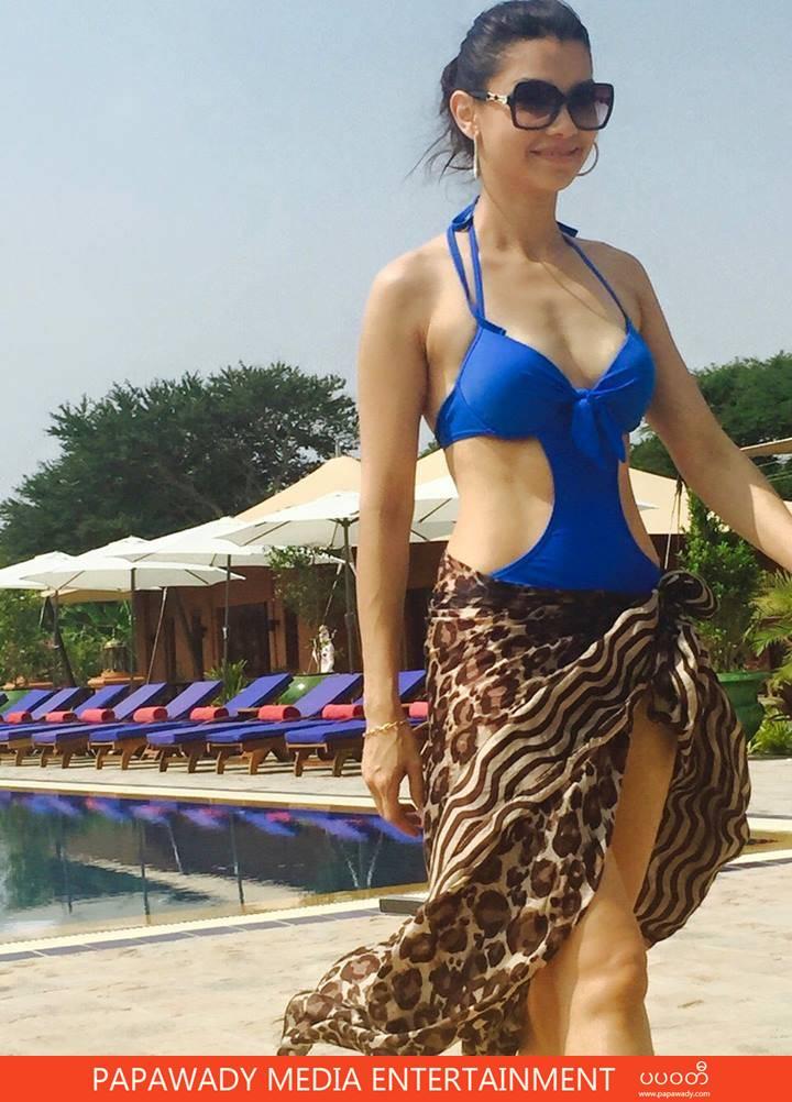 Thandar Hlaing In Swim Suit Walks At Bagan Resort