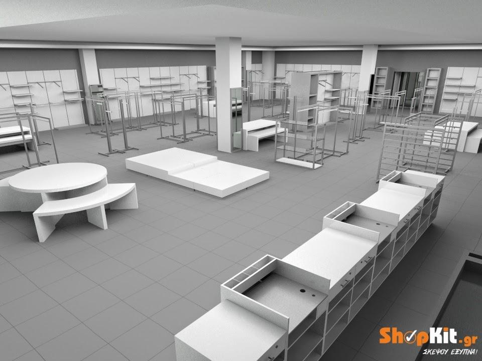 ff8b4c75d879 Τα παρακάτω 3D σχέδια ενός μεγάλου επιπλωμένου καταστήματος μόδας τονίζουν  τη διαφορά που μπορούν να κάνουν υλικά σε διαφορετικές αποχρώσεις στον  εμπορικό ...
