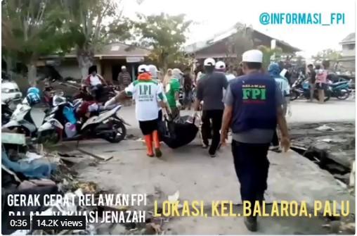 Kominfo Nilai Aksi FPI Bantu Gempa Palu Adalah Hoaks
