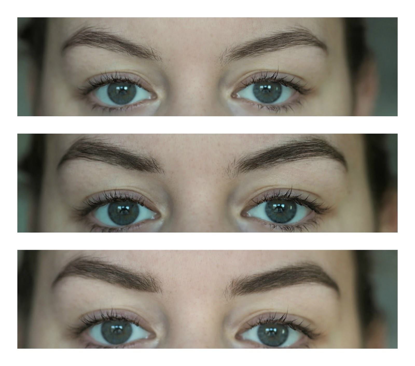 Before and After using Toppik Brow Building Fibers Set