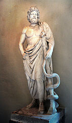 The Greek God of medicine and healing Asclepius with  snake-entwined staff