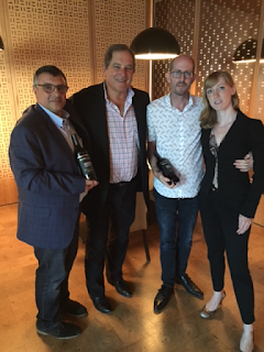 Winemaker Rick Sayre (second from left) with Winners of Wine Blending Competition Chef Eyal Liebman and Sommelière Rebecca Meïr-Liebman