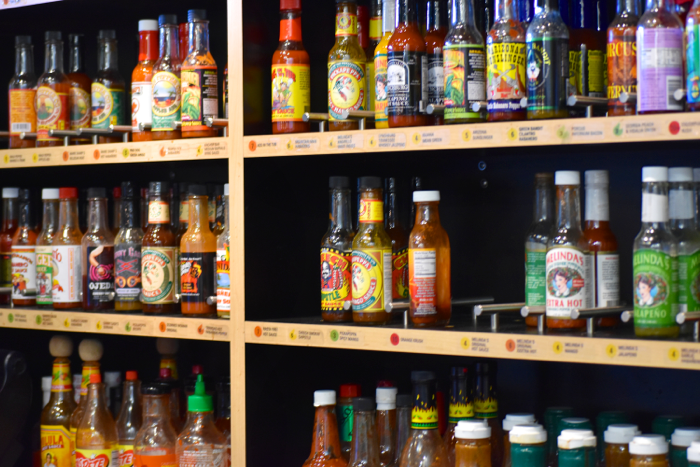 California Tortilla hot sauce wall
