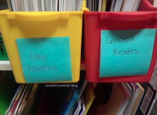 classroom book storage, classroom book bins, target book bins, post it notes classroom, classroom organization, special education organization, resource teacher classroom