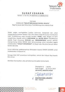 surat edaran himbauan sholat oleh GM Telkom Indonesia