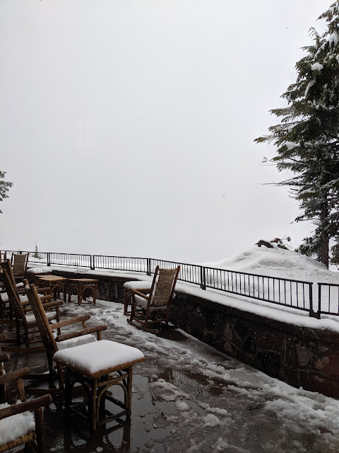 The view from the deck is completely shrouded by falling snow. It's piling up on the deck chairs and tables, too.