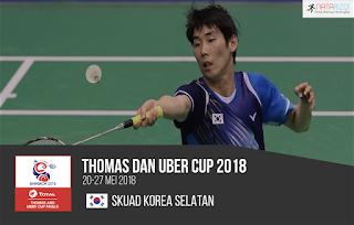 Pemain Korea Selatan di Thomas dan Uber Cup 2018