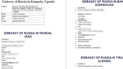 Parte de la información sobre las embajadas rusas en el mundo que Daesh ha difundido para incitar ataques.