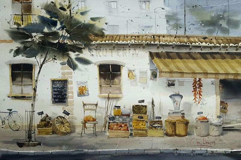 lukisan pemandangan kota