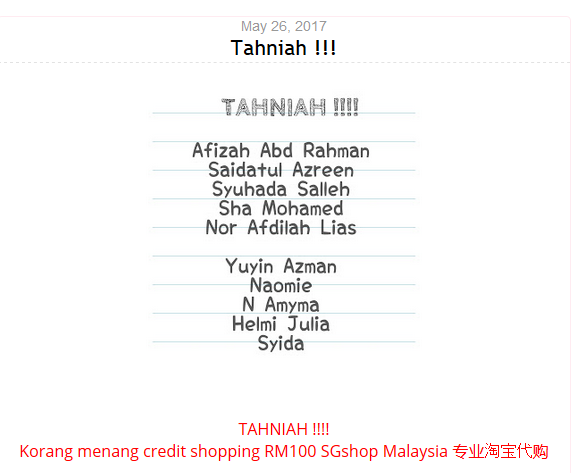Menang Giveaway Voucher RM100 dari SG Shop